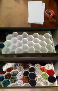 Instructable: Honeycomb sock organizer